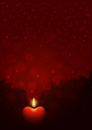candle flame: Dark-red background with burning heart-shaped candle. Flame of love concept