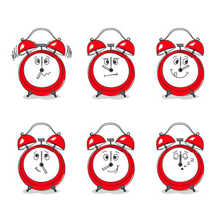 face expression: Set of six hand-drawn red clocks with funny faces instead of clock faces. Specific time of day — specific emotion on face. Mood during work day concept
