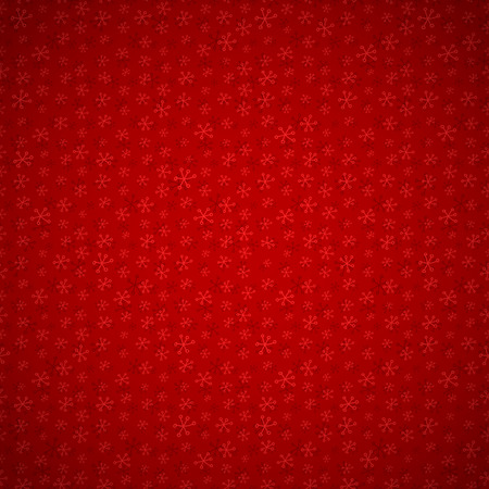 uninterrupted: Festive red background with seamless pattern with snowflakes and light vignette