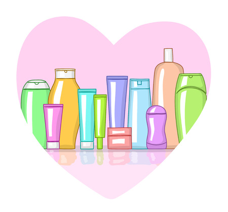 cosmetic products: Various multicolor cosmetic products in heart-shaped frame. Love cosmetics concept