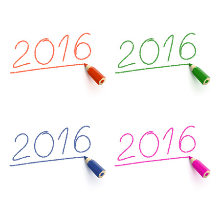 topical: Four inscriptions 2016 drawn with different colored pencils on white background