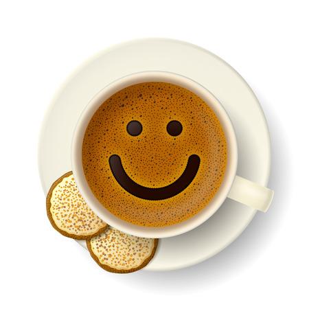 Tasse Kaffee mit Schaum in Form von lächelnden Gesicht. Cookies auf Untertasse. Gute Laune und Lebendigkeit für aktiven Tag