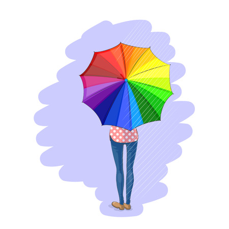 bad girl: Slender girl is standing alone and keeping colorful umbrella in her hands, back view under rain on gray background