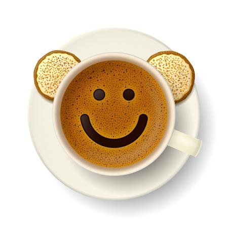 Tasse Kaffee mit Schaum in Form von lächelnden Gesicht. Cookies auf Untertasse. Gute Laune und Lebendigkeit für aktiven Tag Vektorgrafik