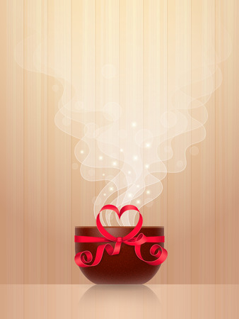tied: Ceramic cup, tied by red ribbon with heart-shaped bow, light steam on wooden background. Favourite drink concept