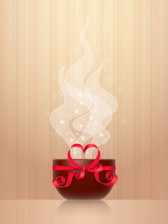 cheerfulness: Ceramic cup, tied by red ribbon with heart-shaped bow, light steam on wooden background. Favourite drink concept