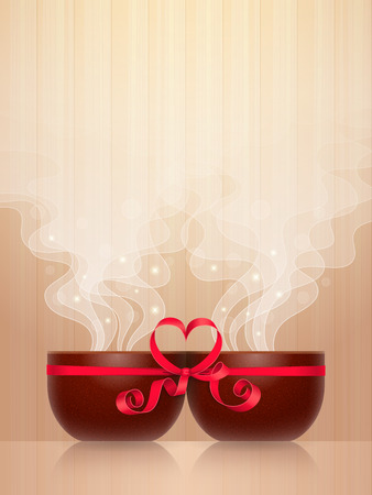 concerted: Two ceramic cups, tied together by red ribbon with heart-shaped bow, light steam on wooden background. Pleasant pastime for enamored couple Illustration