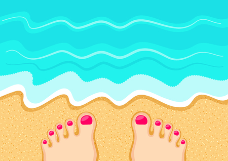 health resort: Female feet on the sand in front of the sea waves. Rest at the beach. Leisure and relaxation concept Illustration