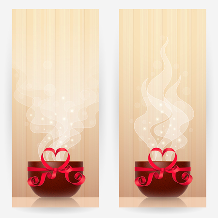 favourite: Two backgrounds with brown cups, tied by red ribbon with heart-shaped bow, with light steam above. Favourite drink concept Illustration