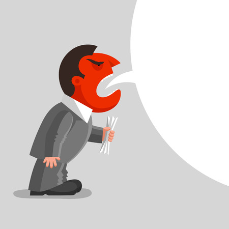 enrage: Angry man with red head is shouting, with paper document kept in his hand. Enraged boss concept Illustration