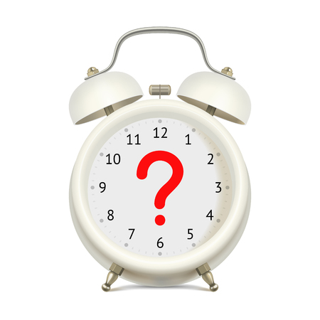ambiguity: Realistic white alarm clock  without digits on clock face, with red question mark in the center, on white background. Uncertainty concept