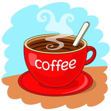 cheerfulness: Red cup of coffee with the inscription coffee, with spoon inside. Coffee break concept