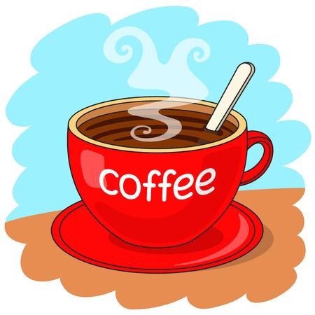 """taza cafe: Taza de caf� roja con la inscripci�n """"caf�"""", con la cuchara dentro. Concepto Coffee break Vectores"""