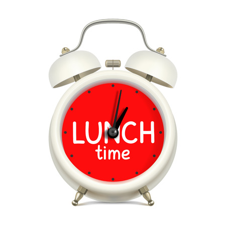 workday: Realistic white alarm clock with red clock face without digits, with an inscription LUNCH time, on white background. Lunch time during the workday