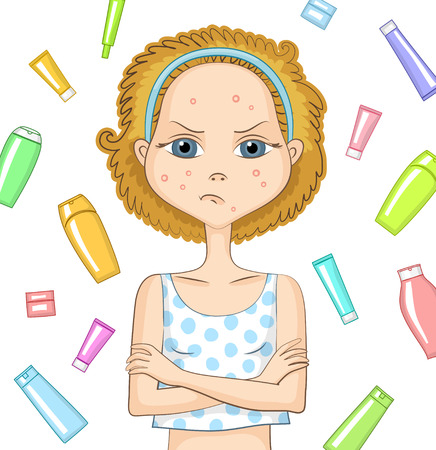 whelk: Girl with problem skin and with sad displeased face is keeping her arms crossed over her chest. Various cosmetic products behind girl. Skin care and beauty concept