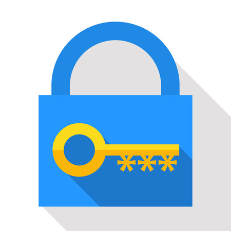 Golden key with cogs in the form of asterisks at lock background. Authorized access. Information security concept