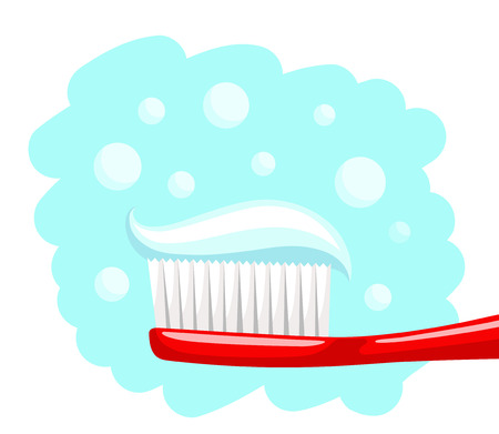 portion: Portion of toothpaste is laying on toothbrush with white bristle and red handle, on blue background with bubbles. Personal hygiene and health concept
