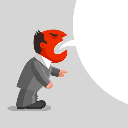 dissatisfied: Angry man with red head is shouting, one hand is in fist, another is in pointing gesture. Enraged boss concept Illustration
