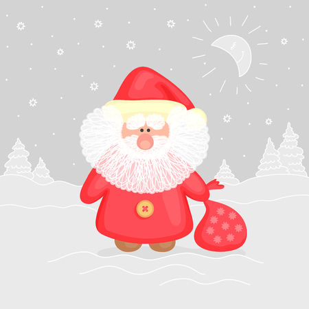 moroz: Festive greeting card in gray-and-red colors with funny Ded Moroz, on winter landscape background. Merry Christmas and happy New Year concept