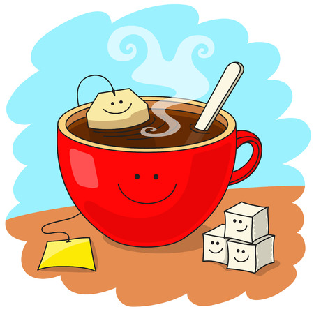 Red cup of tea with tea bag inside. Funny smiling faces. Tasty tea drinking and good mood concept