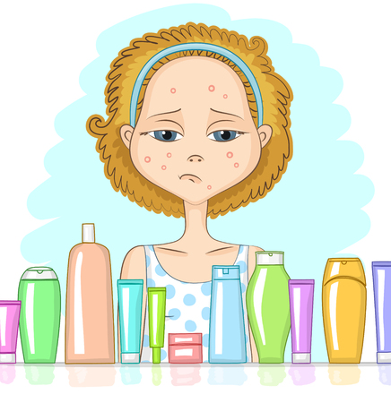 Girl with problem skin and sad face is looking at variety of cosmetic products in front of her. Skin care and beauty concept