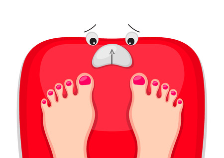 deliberation: Female feet are standing at red bathroom scales with upset face. Motivation to lose weight. Time for diet concept Illustration