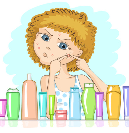 purification: Girl with problem skin and with displeased face is squeezing out big pimple at her cheek. Various cosmetic products in front of her. Skin care and beauty concept Illustration