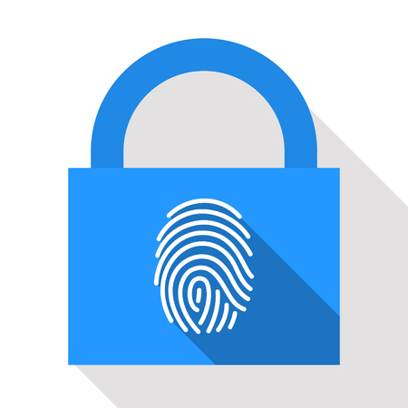up code: Stylized fingerprint on lock background. Authorized access. Secure password concept