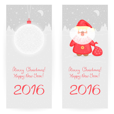 moroz: Two festive  greeting cards in gray-and-red colors with New Years ball and funny Ded Moroz, on winter landscape background. Merry Christmas and happy New Year 2016
