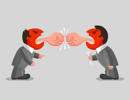 Two angry man with red heads are standing in opposite to each other and shouting. Tongues in form of fist. Verbal battle concept