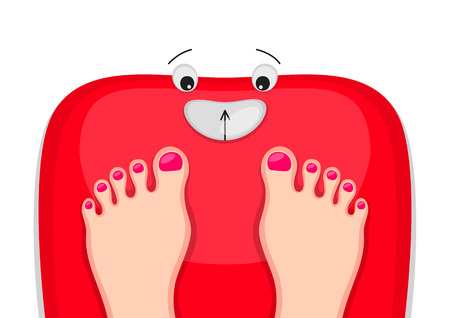 Female feet are standing at red bathroom scales with happy face. Motivation to be healthy and slender