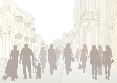 Overdag stadsstraat en donkere mensen silhouetten