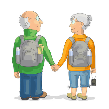 couple hiking: Couple of elderly tourists holding hands, smiling and looking at each other. Back view. Travel and tourism at any age concept Illustration
