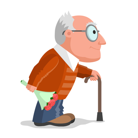 grandad: Elderly man dressed in a brown sweater and blue trousers, with walking cane in one hand and with bouquet of flowers in other hand is going on date. Love at any age concept Illustration