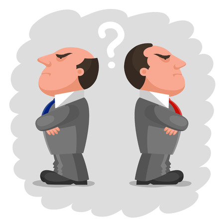 bureaucrat: Two men dressed in identical gray business suits and with different ties is standing backs to each other, with disgruntled angry faces. Question mark between them. Disagreement and no compromise concept