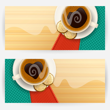 elongated: Set of two backgrounds with coffee cups and cookies light steam above cups on a wooden table top. Favorite drink concept. Horizontally elongated rectangular backgrounds