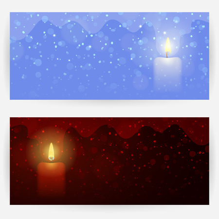 Two winter festive greeting cards in dark-red and blue colors, with candle lights, sparks and snowflakes. Horizontally elongated rectangular backgrounds Çizim