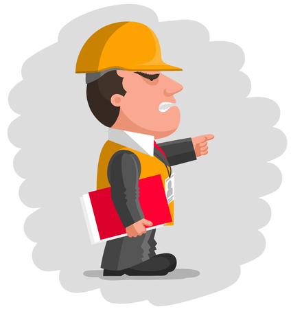 Angry boss habillé en costume d'affaires gris avec un gilet orange et casque de protection est de garder dossier de documents rouge à la main et en pointant le doigt en face de lui Vecteurs