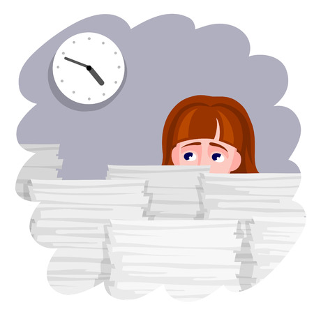 Woman with dismay is looking at the clock. A lot of stacks of documents in front of her. Deadline and overloading by work concept