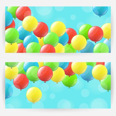 elongated: Set of festive backgrounds with colourful balloons. Horizontally elongated rectangular backgrounds