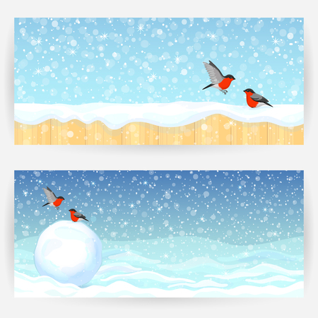 elongated: Two winter festive greeting cards with bullfinches, snow, snowball, and wooden fence. Horizontally elongated rectangular backgrounds