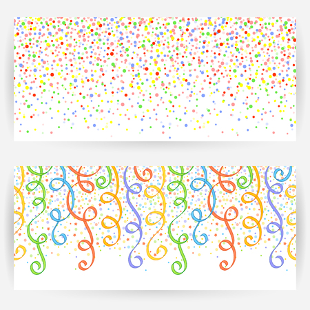 elongated: Set of two festive backgrounds with seamless pattern from circles and ribbons.Horizontally elongated rectangular backgrounds