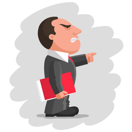 Angry boss dressed in gray business suit is keeping red document folder in hand and pointing finger in front of him. Discontented boss concept Иллюстрация