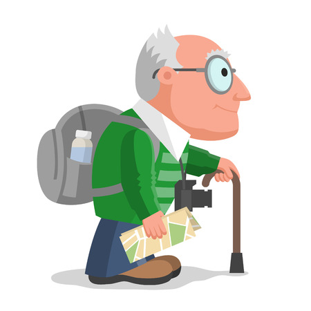 grandad: Old man is travelling with backpack, camera and maps. Hiking and tourism at any age Illustration