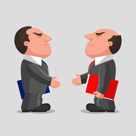 businesslike: Two men dressed in business suits with folders in their hands, are reaching out hands to each other for greeting. Business partnerships concept Illustration