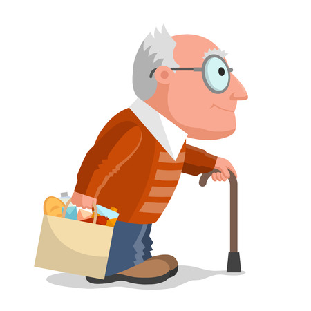 foodstuff: Elderly man in brown sweater, package with foodstuff in one hand, and walking stick in another hand. Make buying in any age Illustration