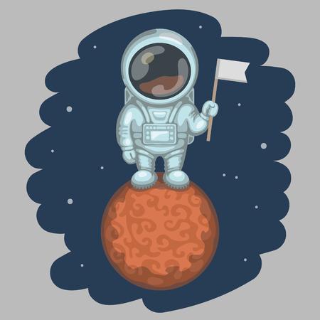 descubridor: Astronauta divertido vestido con traje espacial blanco está de pie en el planeta rojo y sosteniendo en su pequeña bandera de la mano. Expedición a Marte y el espacio concepto de exploración