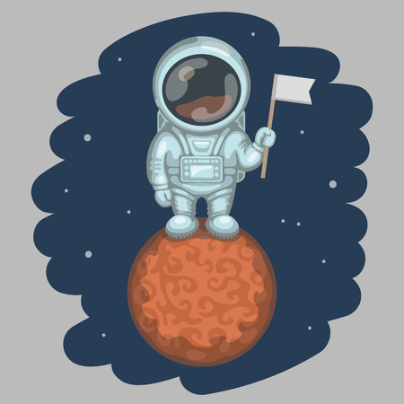 exploratory: Funny astronaut dressed in white spacesuit is standing on red planet and holding in his hand small flag. Expedition to Mars and space exploration concept