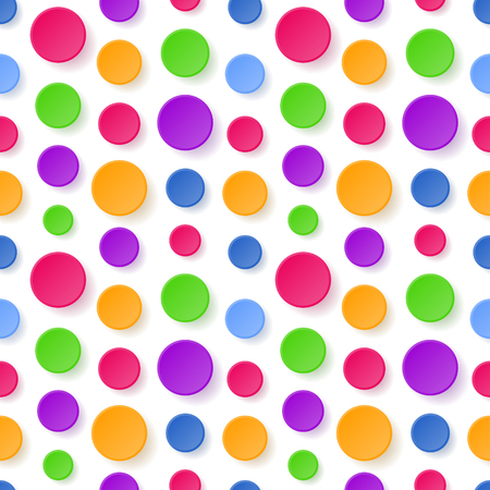 Seamless abstract geometric pattern with colorful circles on white background