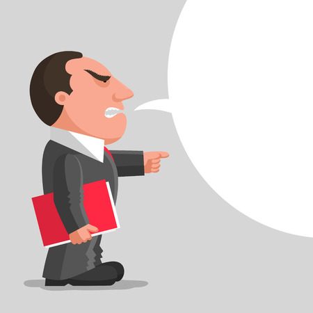 bureaucrat: Angry boss dressed in gray business suit is keeping red document folder in hand and pointing finger in front of him. Discontented boss concept. Place for your text